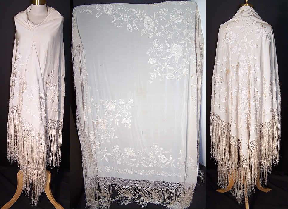 Antique White Silk Embroidered Wedding Piano Shawl   Front view.