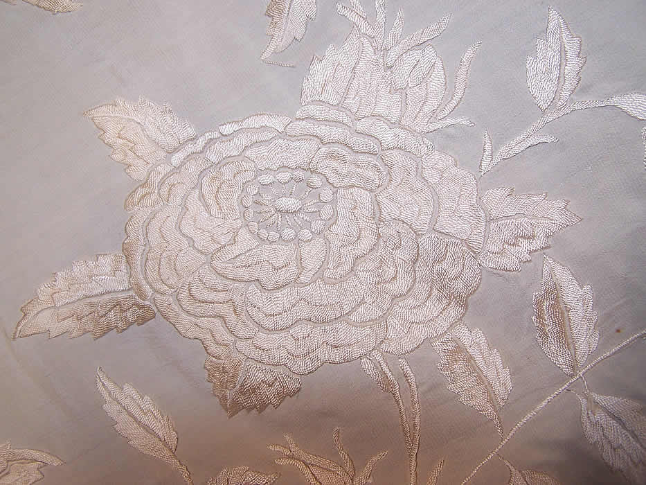 Antique White Silk Embroidered Wedding Piano Shawl  close-up view.