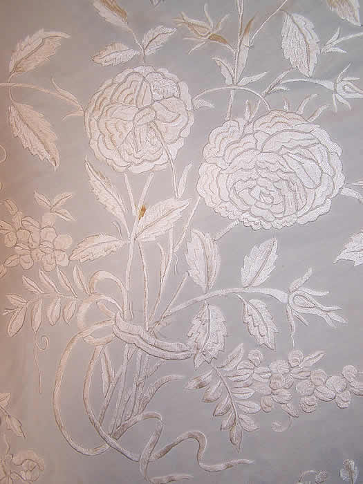 Antique White Silk Embroidered Wedding Piano Shawl  Close up.