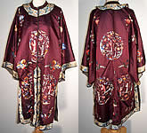 Antique Chinese Figural Embroidered Silk Robe Coat