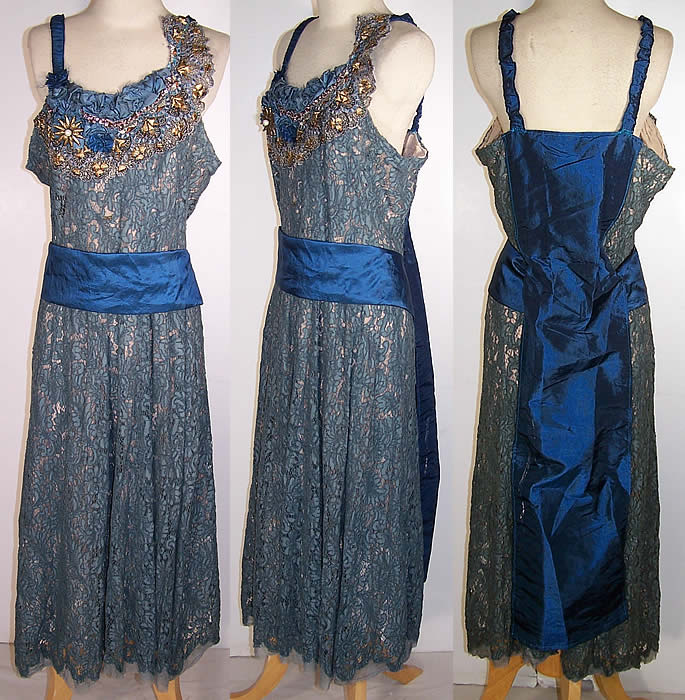 Blue dress gold lace