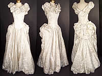 Vintage Silver Lamé Brocade Rosette Bustle Bow Ball Gown Dress