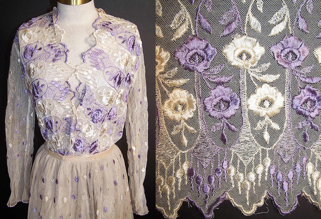 Edwardian Suffragette Purple Amp White Embroidered Floral