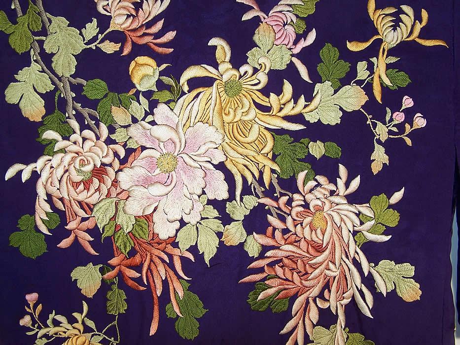 Antique Japanese Purple Silk Padded Satin Stitch Embroidery Chrysanthemum Kimono