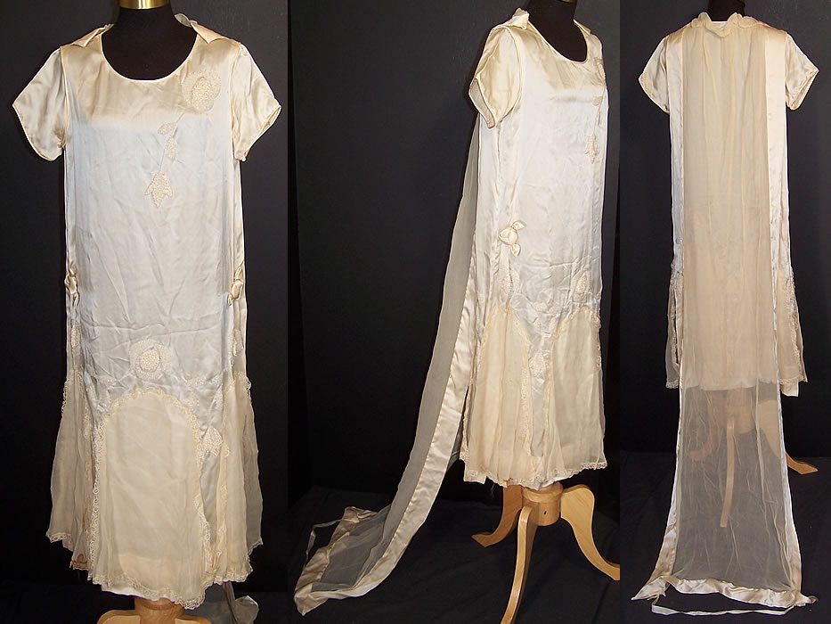 Vintage Cream Silk Beaded Rosette Wedding Dress Watteau Train Gown Front