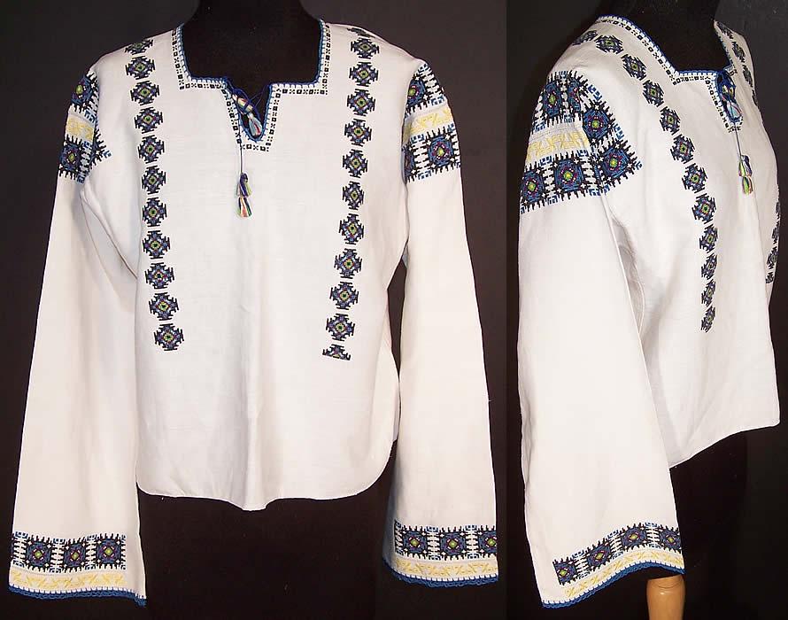 1aa9c3b44e21b3 Vintage Romanian Bulgarian Embroidered Linen Peasant Shirt Folk Blouse