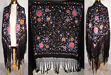Antique Black Silk Colorful Floral French Knot Embroidered Canton Piano Shawl