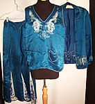 Vintage Blue Silk Embroidered Asian Dragon Pajamas Lounge Set Robe Pants Top