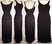 60s Vintage Jr. Theme New York Black Fringe Wiggle Sheath Cocktail Dress