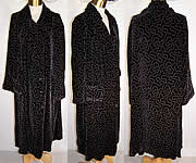 Vintage Art Deco Black Velvet White Painted Evening Cocoon Opera Coat