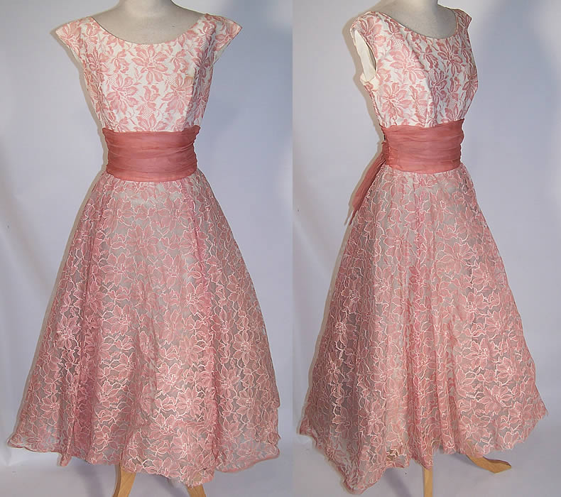Pink & White Tulle Net Lace Circle Skirt Dress Formal