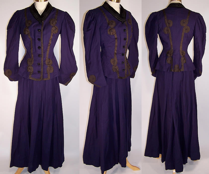 Victorian Violet Purple Wool Black Soutache Walking Suit Bodice Jacket Skirt