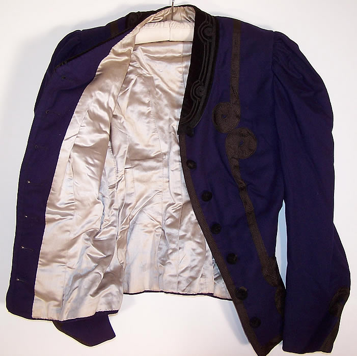 Victorian Violet Purple Wool Black Soutache Walking Suit Bodice Jacket shows the lining
