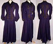 Violet Wool Black Soutache Walking Suit Bodice Jacket Skirt