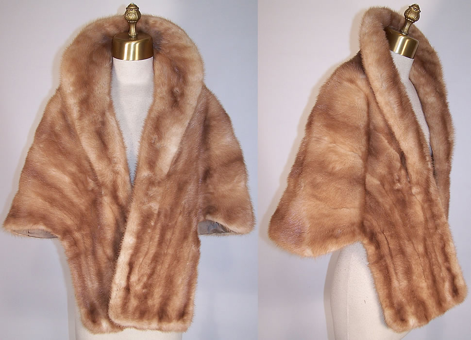 Vintage Lockwood Furs Pastel Blonde Brown Mink Fur Cape Shawl Stole Wrap