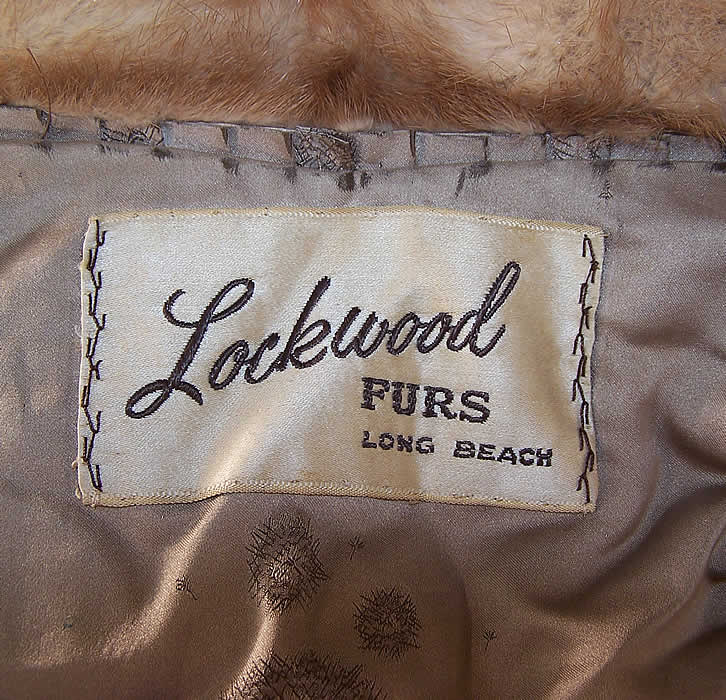 Vintage Lockwood Furs Pastel Blonde Brown Mink Fur Cape Shawl Stole Wrap label close up