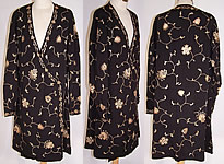 Vintage Art Deco Black Silk Ecru Chain Stitch Embroidered Robe Dress Coat
