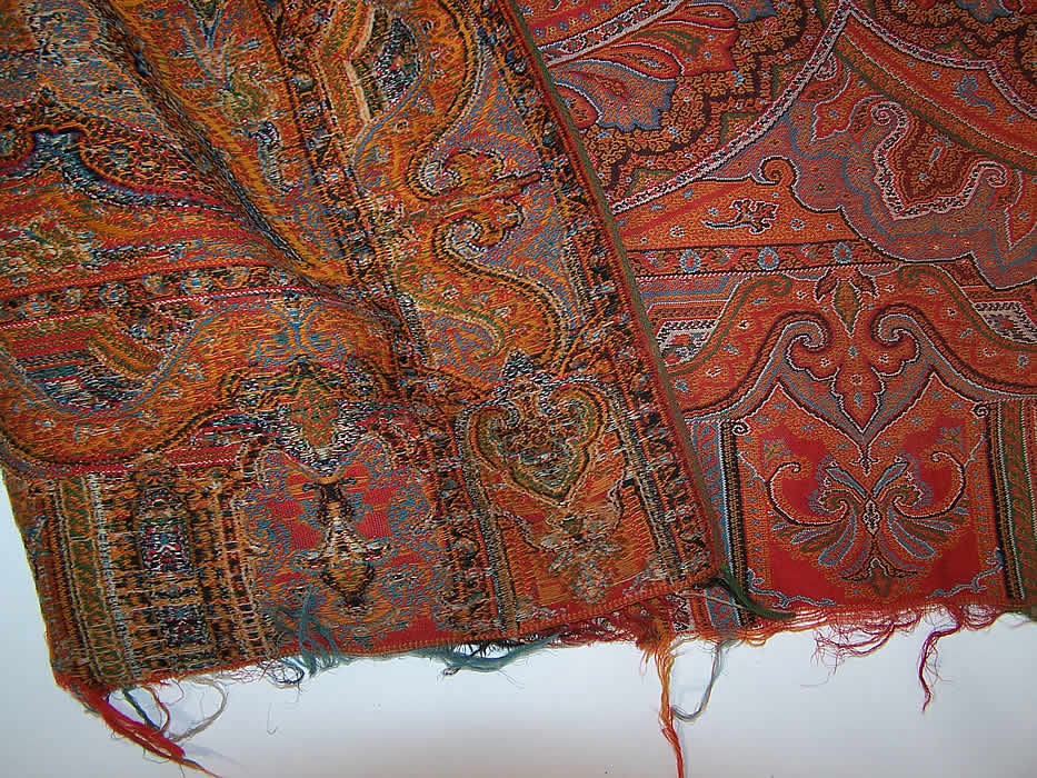 "Victorian Antique Large Banquet Size Jacquard Hand Loom Wool Paisley Shawl 132"" close up shows the back"