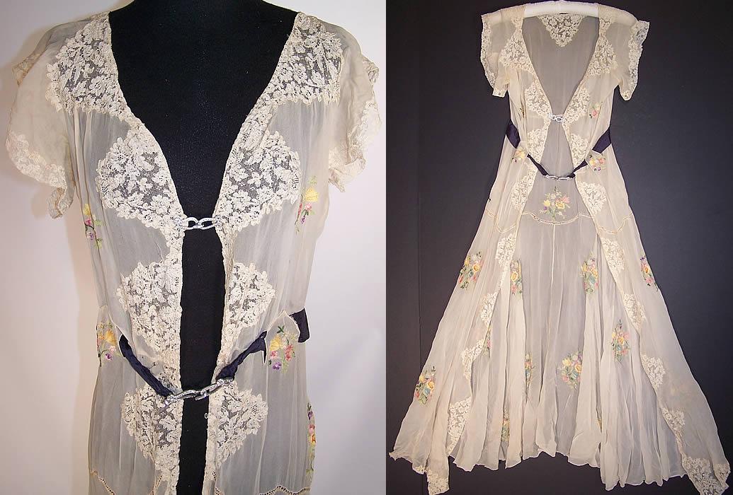 Vintage Silk Chiffon Lace Chain Stitch Embroidery Negligee