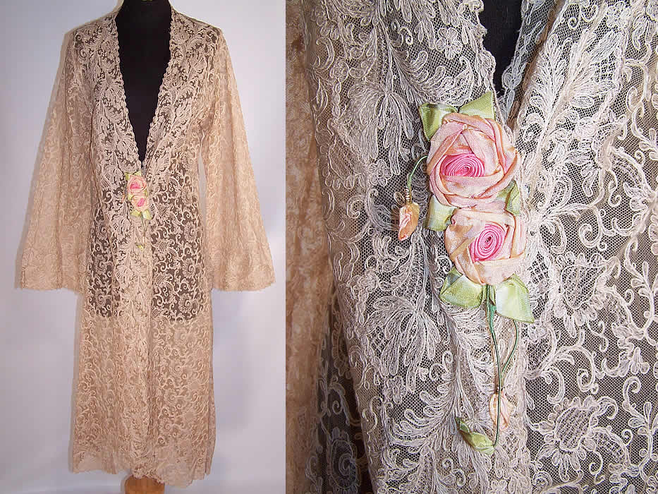 Vintage Tambour Embroidery Lace Rosette Negligee Peignoir Robe ...