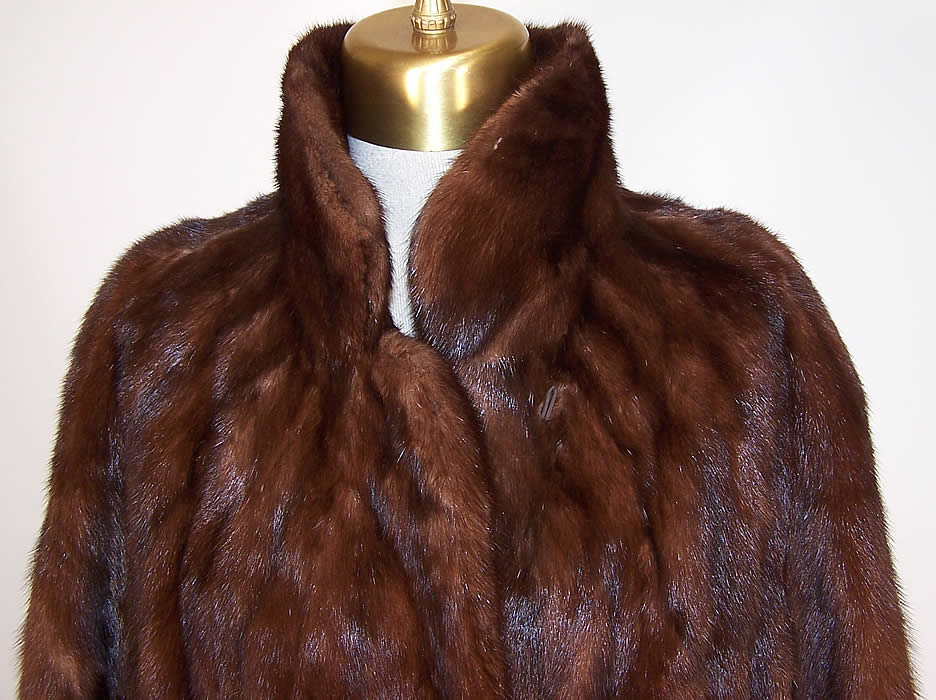 Vintage Mahogany Brown Mink Fur Full Length Long Swing Coat Jacket