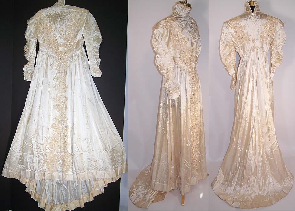 Victorian Cream Silk Floral Lace Applique Wedding Gown