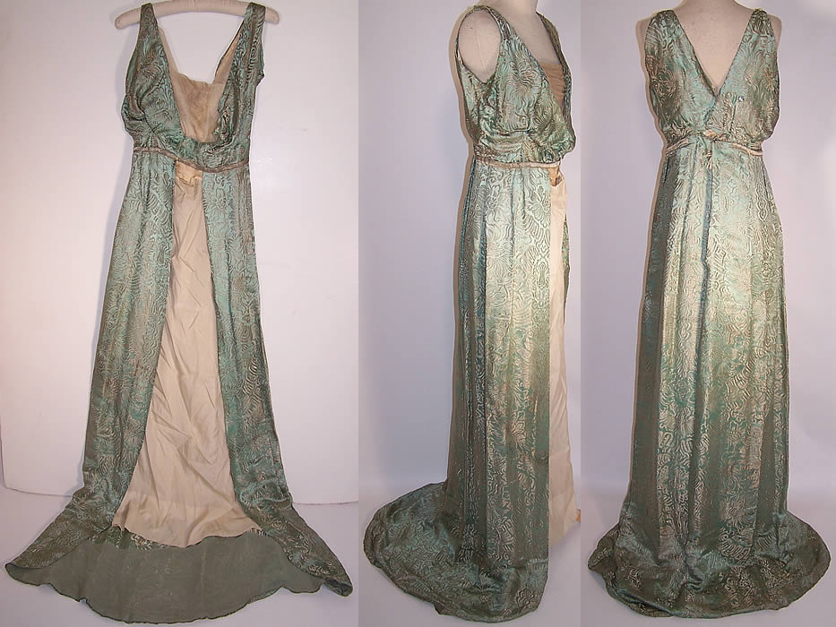 Edwardian Titanic Green Silk Silver Lamé Brocade Grecian Gown Dress