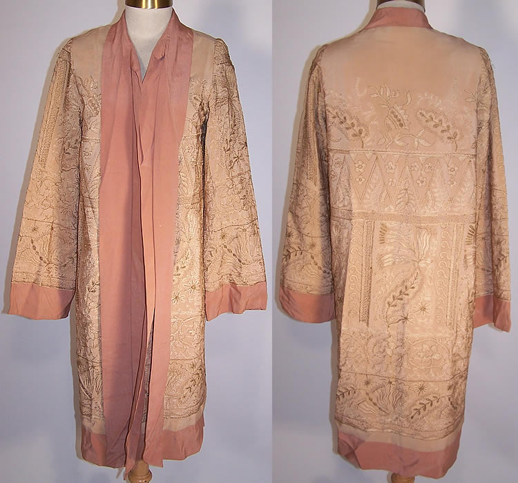 Vintage 1920s art deco rose pink silk gold metallic for Deco maison rose gold