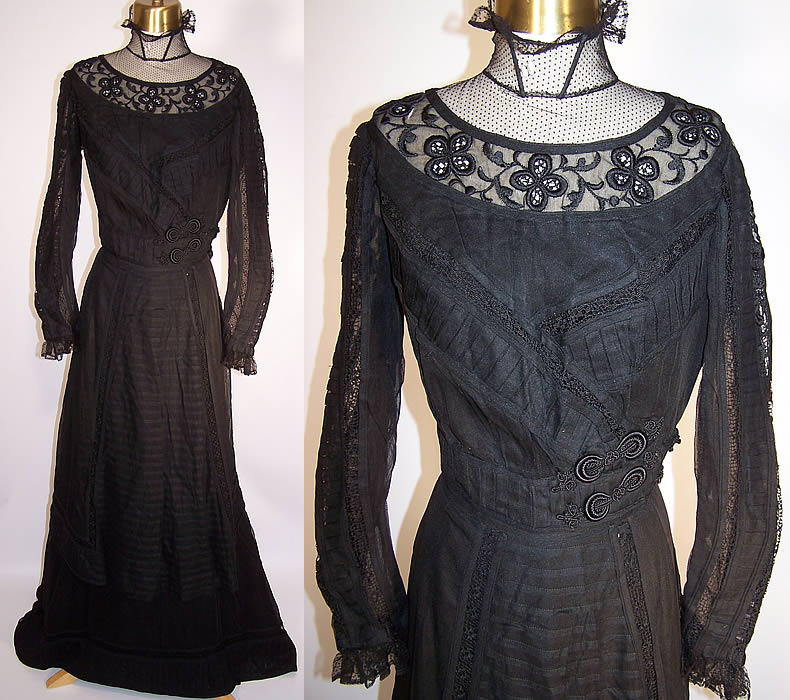 Victorian Sheer Black Weave Pleated Mourning Gown Dress Bodice Skirt Train front views