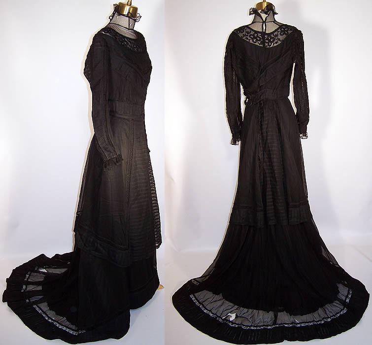 Victorian Sheer Black Weave Pleated Mourning Gown Dress Bodice Skirt Train side & back views