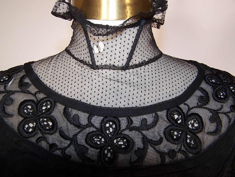 Victorian Sheer Black Weave Pleated Mourning Gown Dress Bodice Skirt Train a few small holes in the net yoke close up.