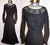 Black Weave Pleated Mourning Gown Dress Bodice Skirt Train
