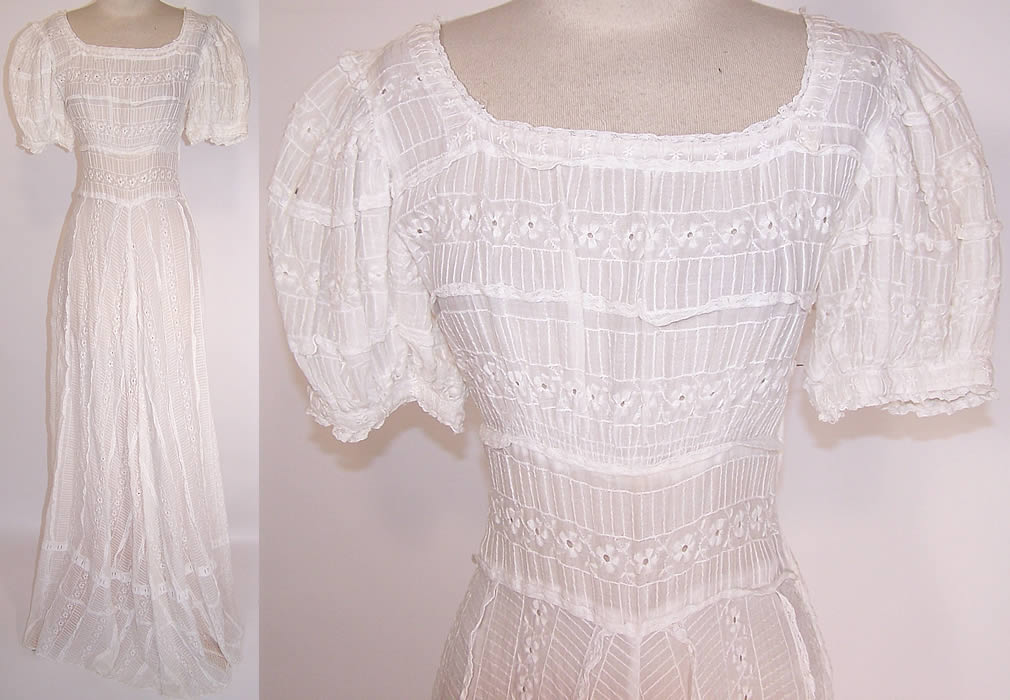 Vintage White Cotton Batiste Pleated Eyelet Lace Garden Party Wedding Dress