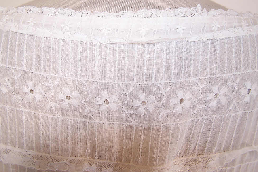 Vintage White Cotton Batiste Pleated Eyelet Lace Garden Party Wedding Dress very close up