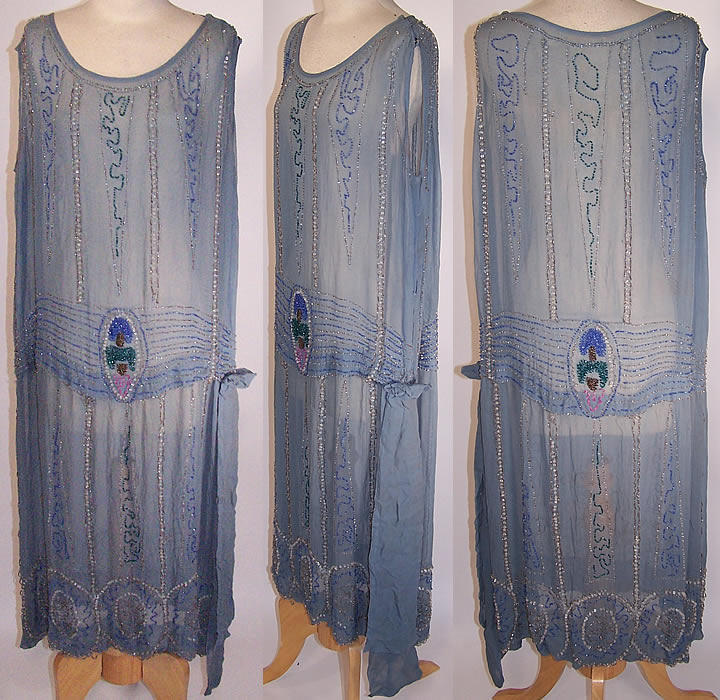 Art Deco Blue Silk Chiffon Silver Pastel Beaded Flapper Drop Waist ...