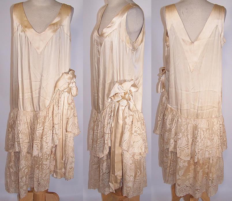 Vintage 1920s cream silk lace skirt drop waist wedding for Lace drop waist wedding dress