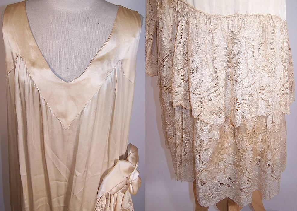 Vintage 1920s Cream Silk Lace Skirt Drop Waist Wedding