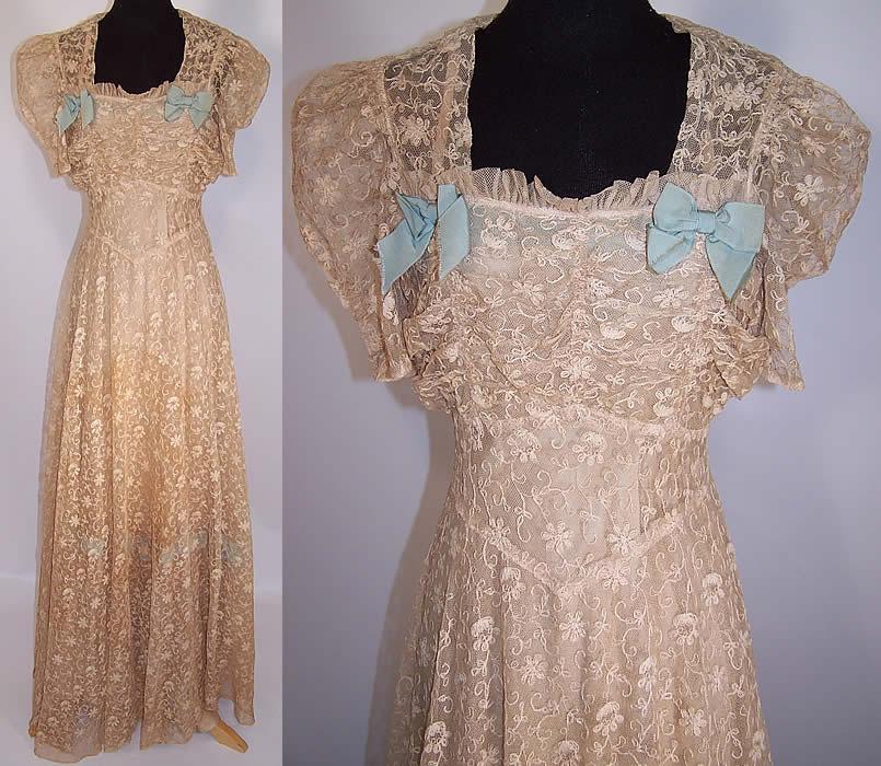 Vintage Ecru Tambour Embroidery Net Lace Blue Bow Bias Cut Dress ...
