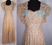 Vintage Ecru Tambour Embroidery Net Lace Blue Bow Bias Cut Dress Gown & Slip