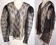 Victorian Antique Black Net Chantilly Lace Blouse Coat Jacket