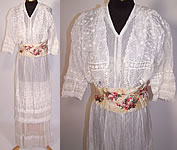Edwardian Embroidered White Batiste Lawn Lace Wedding Gown Graduation Dress