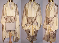 Vintage Art Deco Yellow Cream Silk Gold Lamé Cocoon Cape Cloak Shawl