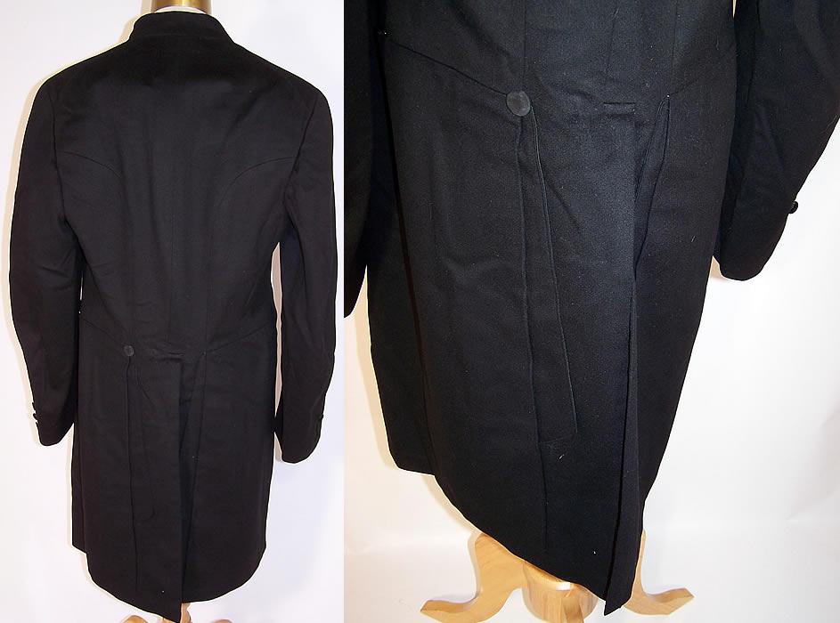 Victorian Brauer & Krohn Tailors Men Black Wool Formal Frock Coat