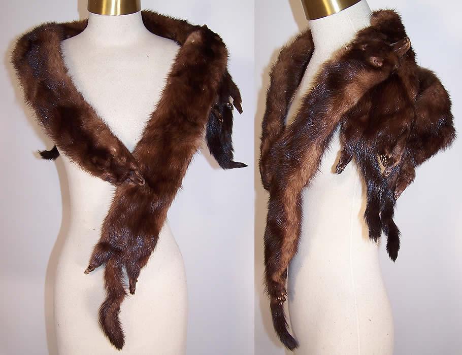 Vintage Mahogany Brown Stone Marten Mink Fur Stole Shawl Wrap Boa Cape