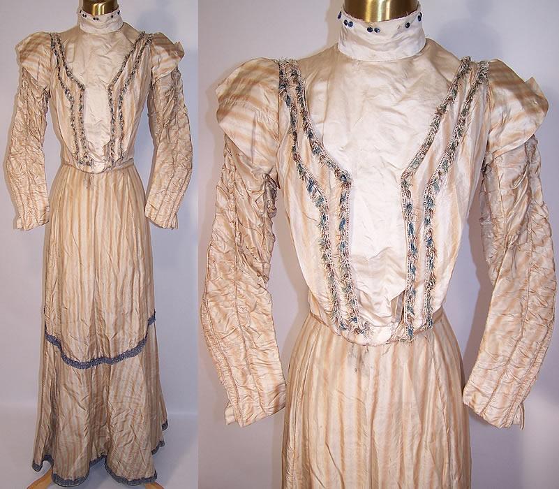 Victorian Ecru Beige Striped Silk Blue Fringe Gown Dress