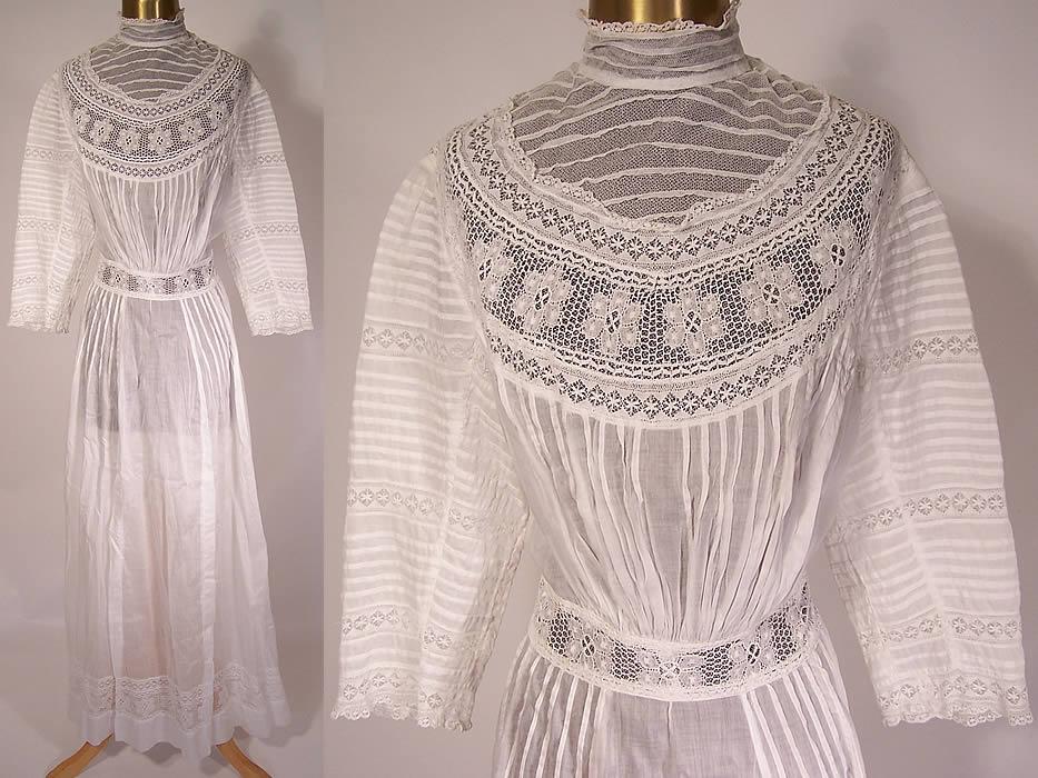 Edwardian White Embroidered Net Lace Graduation Wedding Dress top Edwardian