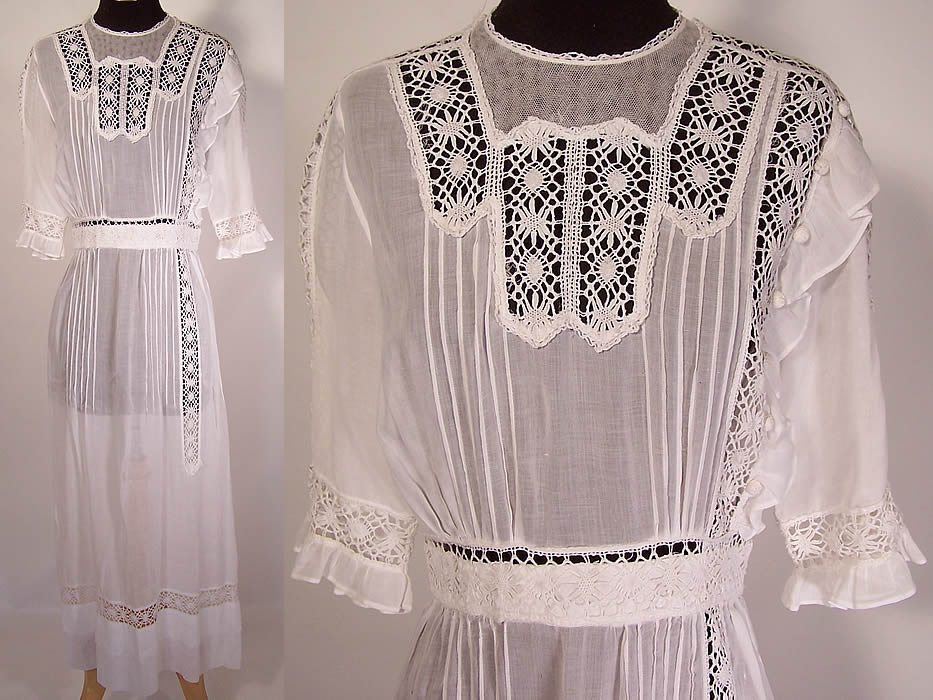 Edwardian Pleated White Cotton Batiste Cluny Lace Lawn Graduation Tea Dress