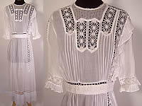 Vintage Edwardian 1910 Pleated White Cotton Batiste Cluny Lace Lawn Graduation Tea Dress
