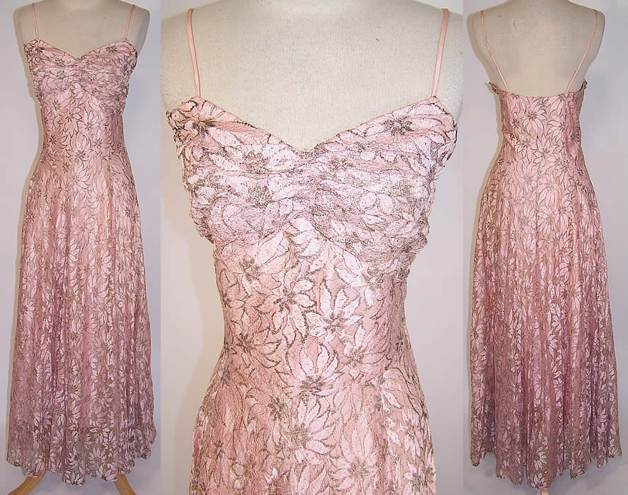 Vintage Muzaffar Pink Silver Metallic Lace Formal Evening