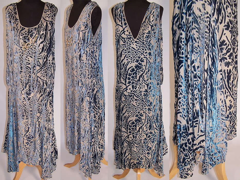 Art Deco Steel Blue Voided Velvet Silk Rosette Drop Waist Flapper Dress